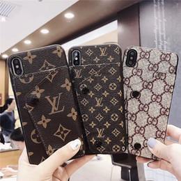 Роскошный дизайнер одежды сотовый телефон чехол высокое качество кожаный держатель карты известный чехол для iPhone X XS XR XS макс. 7 7 плюс 8 8 плюс 6 6 плюс cheap designer cell case от Поставщики дизайнерский чемодан