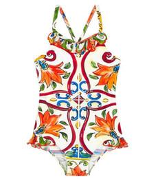 Trajes de banho elegantes on-line-Crianças Swimwear Da Criança Meninas Summer Morning Glory one Piece Swimsuit Bebê meninas Floral Impresso Elegante Swimwear Frete Grátis