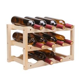 Große weinflaschen online-Massivholz Kreative Einfache Weinregal Durable Folding Rotwein Aufmä Regal große Kapazitäts-Wein-Flaschen-Halter Racks