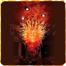 Pendenti in vetro soffiato online-Lampadario moderno luce grande formato lusso fuoco rosso vetro soggiorno luce ciondolo dale chihuly vetro soffiato a mano arte illuminazione a led lampadari