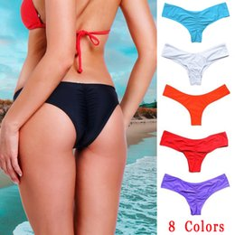 2019 mais maiô Mulheres Sexy Brasileira Biquíni Swimwear Praia de Banho Tanga Ruched Scrunch Inferior Plus Size Beachwear Tie Side Swimwear swimsuit mais maiô barato