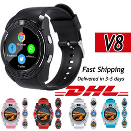 v8 sport smartwatch Coupons - v8 Bluetooth Smart Watch sim card Men camera rounded Answer Call Dial Call Smartwatch android Fitness Tracker Sport