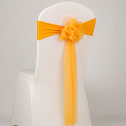 fasce gialle per sedie Sconti Nuovo 50pcs / lot Wedding Party Decoration Red Bow Tie Muslin Chair Telai Rosa Stretch Lycra Chair Back Band per banchetti di eventi