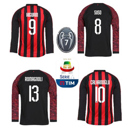 18 19 AC away milan 9 HIGUAIN Long sleeve soccer jersey 2018 2019 ac home  Long sleeve BAKAYOKO BORINI CALDARA CUTRONE football shirt jersey away ac  milan on ... 96f5cf5e8