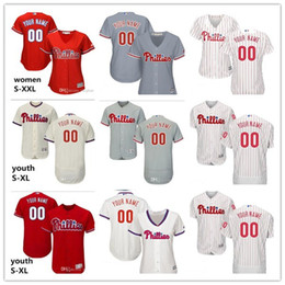 2021 majestueux maillots de baseball Hommes Femmes Jeunesse Majestine Custom Custom # 2 JP Crawford 4 Scott Kingery Home Rouge Grey Grey Blanc Enfants Girls Baseball Jerseys