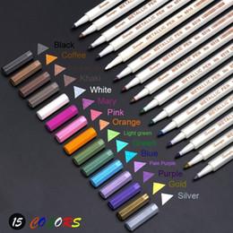 Mikron stifte online-15 Farben / Set Metallic-Mikron-Stift Detaillierte Markierungsfarbe Metallmarkierung für schwarze Papierzeichnung für das Schulalbum School Art Supplies