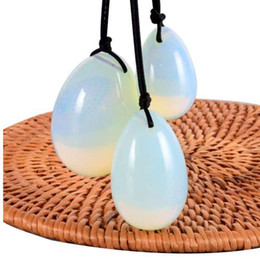 Beckenmuskel online-Jade Egg Set Bohrer Opalite Yoni Ei Mineral Quarz Stein Heilmassage Ball Kegel Übung Beckenbodenmuskel Für Frauen