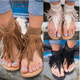 sandalias planas borla marrón Rebajas Sandalias bohemias de gran tamaño remache pizca estilo romano mujer talón plano gladiador sandalias zapatos negro beige marrón