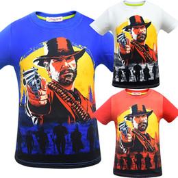 bb25283381daa 3 Couleur Garçons Filles Red Dead Redemption 2 T-shirts 2019 Enfants Jeu de  Bande Dessinée T-shirt à manches courtes T-shirts bébé enfants C