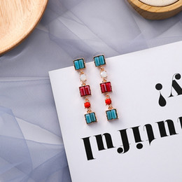 2019 pendenti africani fatti a mano 2019 Retro elegante ciondola gli orecchini brillanti cristalli geometrici pendiente temperamento lungo irregolare brincos ragazze gioielli regali