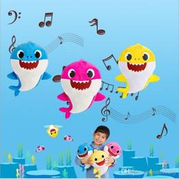 máquina de imitación Rebajas Baby Shark Plush Toys Led Music Shark Dolls Shark Music English Singing Lighting Toys Stuffed Animals Plush Dolls Sing Toy Party Dolls B4747
