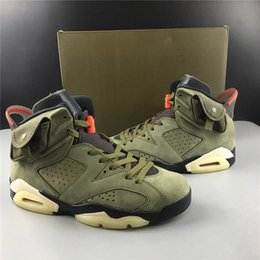 art cactus Coupons - Travis x Houston 6 Medium Olive Men Basketball Shoes High Quality Cactus Jack 6s Black-Sail-University Red mens designer sneaker With Box