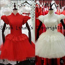 Mangas de ursinho de renda vermelha on-line-Nova chegada vestido de baile 2019 vestido de baile de renda vermelha alta nech modesto vestido de noiva muçulmano curto sopro cap manga petite vestido de noiva venda quente