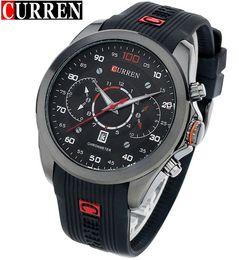 смотреть Скидка Curren топ мужские досуг Спортивные кварцевые часы черный силиконовый водонепроницаемый ремешок мужчины часы Relogio Masculino