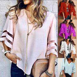 Argentina Blusa de manga de las mujeres flare verano suelta cuello en V Tops malla de costura gasa camisa más tamaño cheap plus size mesh shirt Suministro
