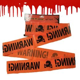 Decoração de fita on-line-Fita de advertência de aviso de Halloween Fita de perigo de festa de Halloween Fita de advertência Sinal de cinto de isolamento Decoração do jardim 580x8.5cm Suprimentos de Halloween