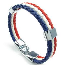 Красные синие футбольные команды онлайн-Ювелирные изделия мужские женские искусственная кожа плетеный футбольный болельщик нация браслет команда перо браслет французский флаг манжета синий белый красный