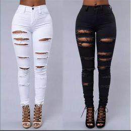 Девушка джинсы высокая талия онлайн-Оптовые- Женские рваные джинсы с высокой талией Разорванные женские клубные джинсовые брюки Hole Knee Skinny Pencil Джинсовые разрушенные брюки Для женской клубной одежды