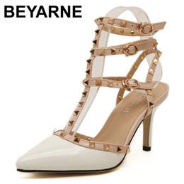 valentines schuhe Rabatt 2016 neue chaussure femme zapatos mujer valentine 3 riemen schuhe frauen Nieten pumpt high heels damen schuhe