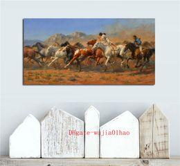 aceites occidentales Rebajas Wild Horses Western, pintura en lienzo, sala de estar, decoración del hogar, arte mural moderno, pintura al óleo