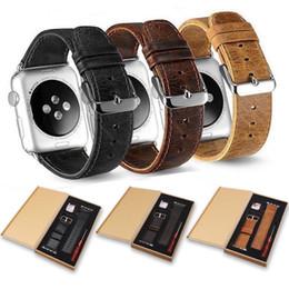 Argentina Correa de correa de reloj de cuero de grano superior compatible con Apple Watch Series 4 3 2 1 Correas de reemplazo de correas elegantes para iWatch Suministro