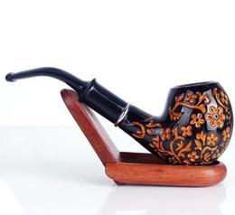 tubo di tabacco piegato nero Sconti Tubo di fumo di legno della resina Tubo di tabacco di colore marrone nero Tubi piegati classici Accessori per fumare
