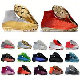 Белое золото cr7 обувь онлайн-Мужские женские белые золотые футбольные бутсы Mercurial Superfly CR7 Quinto Triunfo FG CR7 футбольные бутсы оригинальные футбольные бутсы 35-45