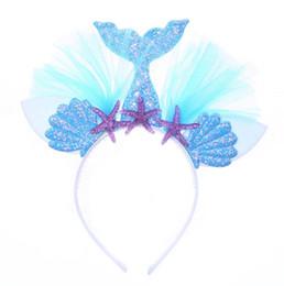 2019 hilo de arcoiris Fiesta de Navidad Arco Iris Sirena Diadema Princesa Malla Yarn Shell Flor Oreja de Gato Hairbands Hoop Fiesta de Niños Vestido de lujo Accesorios para el cabello Regalos