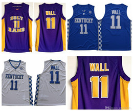 2019 michael jackson azul John Wall Mens Vintage # 11 SantoRam da High School Basketball Jerseys barato John Wall Kentucky Wildcats Colégio costurado Shirts