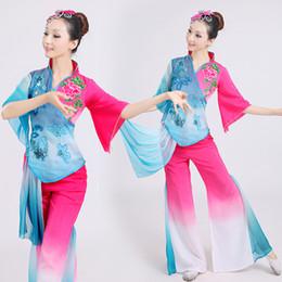 2019 chinês ventilador verde Trajes chineses hanfu trajes de dança folclórica Chinse trajes de roupas festival para o desempenho do palco dança do ventilador lantejoulas verde chinês ventilador verde barato
