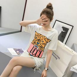 2019 леопардовый принт футболки оптом Оптовая G Leopard head Письмо печати с коротким рукавом футболки дешево леопардовый принт футболки оптом