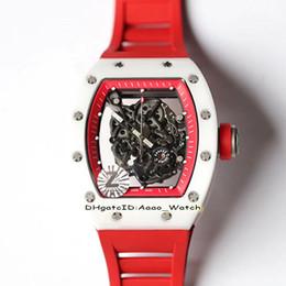 Лучшие часы механического скелета онлайн-Best Edition RM055 Скелетон Белый Y-TZP нано-керамический композитный футляр NH 8 Автоматические механические RM 055 Мужские часы Красные резиновые часы