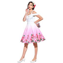 1f422c21153 Été Femmes élégantes Rétro Sun Dress Années 1950 Vintage Robe Printemps  Blanc Imprimer Floral Slash Neck Une Ligne Femmes Robes De Fête