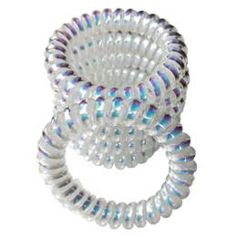 Soporte de cable de goma online-White Clear Spiral Coil Hair Tie No Pliegue Elástico Ponytail Holders Cable de teléfono Traceless Lazos para el cabello para las mujeres Grueso del cabello Caucho Hairbands