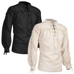 2019 abiti di fasce di alta qualità Camicie Abito uomo Camicia vintage Moda uomo Fasciatura Manica lunga Camicia medievale Gotico Camicetta uomo di alta qualità Uomo Etnica sconti abiti di fasce di alta qualità