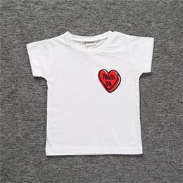 2019 modelos de blusas de pescoço Modelos de explosão 2019 boutique hot summer dress novas crianças T-shirt de impressão de amor meninos mangas curtas modelos de blusas de pescoço barato
