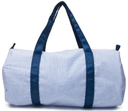 2019 mochila menina azul claro 18 * 9 * 9.5 Polegada Personalizar Seersucker Duffle Bag Atacado Espaços em Branco Crianças Barrel Bag Preppy Saco de Viagem das Crianças