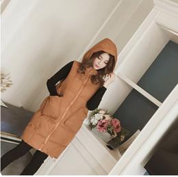 chaleco largo de algodón de señora c Rebajas Moda chaleco de algodón de algodón con capucha para mujer chaleco chaqueta 2019 nuevo largo de gran tamaño sin mangas S-2XLAS173