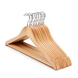 Cabides de roupas arredondadas on-line-venda quente natural cabide topo cabide de madeira com barra redonda camisa de madeira terno vestido cabides