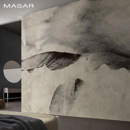 papier tinte kunst Rabatt MASAR Chinesisches abstraktes Wandgemälde graue Tinte Kunst Tapete Wohnzimmer Esszimmer Hintergrund Tapete Lotusblatt
