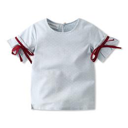 Deutschland INS scherzt Entwerferkleidungs-Mädchenhemd Sommermädchen runder Kragen Kurzhülse Tupfenentwurfsmädchenhemdkinder, die freies Verschiffen kleiden supplier design shirt free Versorgung