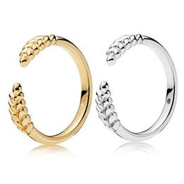 gold leuchtete Rabatt 925 Sterling Silber 18 Karat Gold Offenen Glanz Ringe Original Box für Pandora Weizen Ohren Mode Ring Frauen Valentinstag Schmuck