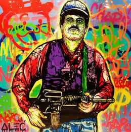 peintures militaires Promotion Haute Qualité Alec Monopoly Peint À La Main HD Impression Abstraite Graffiti Art Peinture à L'huile El Chapo Sur Toile Mur Art Décor À La Maison