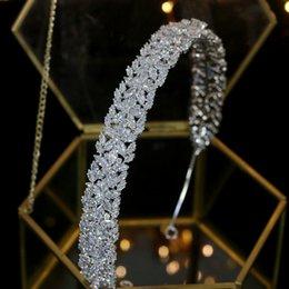 diadema de circonia Rebajas De lujo de circonio accesorios para el cabello de la corona de la boda de la boda la novia elegante venda de boda del partido del vestido de novia de la joyería del pelo