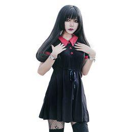 Rotes peter pankragenkleid online-Gothic Kleid Rot Peter Pan Kragen Chic Schädel Knopf A-Linie Lässige Baumwolle Damen Kleider Doom Kleid T4190604