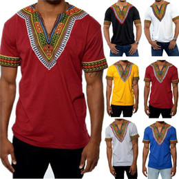 2020 camiseta tribal Africanos T-shirt tribais Homens dashiki Imprimir sucinta Hippie Top Vestuário camiseta tribal barato