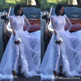 woman white feather dress Coupons - White Women Jumpsuit With Detachable Train High Neck Lace Appliqued Crystal Long Sleeve Prom Dress Luxury Feather Formal Evening Gowns 4273