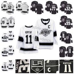 jérsei do hóquei dos reis do la Desconto Mens LA 8 Drew Doughty 11 Anze Kopitar 32 Jonathan Quick Wayne Gretzky 77 Jeff Carter Preto Branco Casa Fora Los Angeles Kings Hockey Jerseys