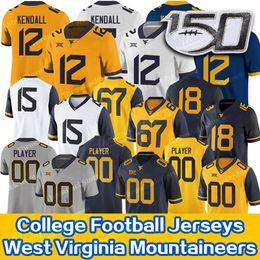 camisas de rugby da faculdade Desconto Personalizado West Virginia Austin Kendall Mountaineers Jersey Sam James Leddie Brown T.J. Simmons George Campbell WVU Football Jersey