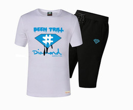 Shirts tecidos de calças on-line-B65402 HIP HOP s-5xl Novo muamba Esporte casual t camisa dos homens de Manga Curta de Malha tecidos terno T-Shirt e calças